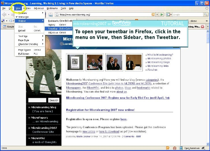 To open your tweetbar in Firefox, click in the menu on View, then Sidebar, then Tweetbar.