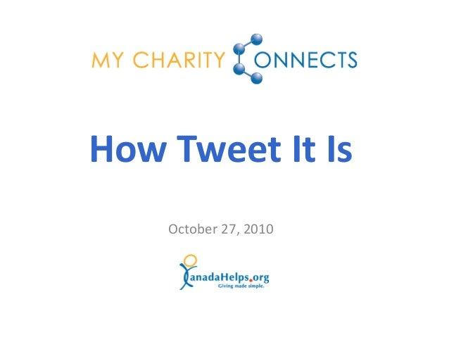 October 27, 2010 How Tweet It Is
