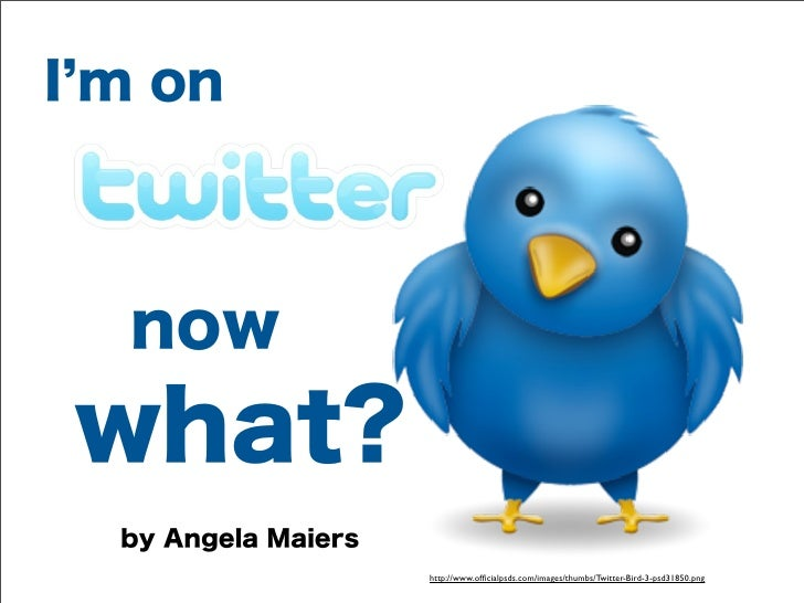I m on  nowwhat?  by Angela Maiers                     http://www.officialpsds.com/images/thumbs/Twitter-Bird-3-psd31850.png