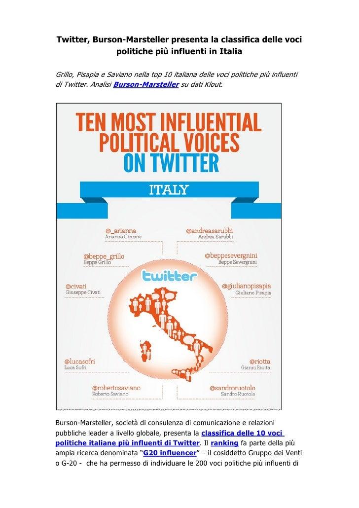 Twitter, Burson-Marsteller presenta la classifica delle voci              politiche più influenti in ItaliaGrillo, Pisapia...