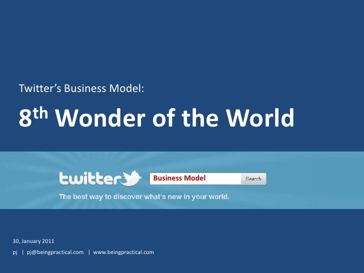 Twitter's Business Model:<br />8th Wonder of the World<br />Business Model<br />30, January 2011<br />pj   |  pj@beingprac...