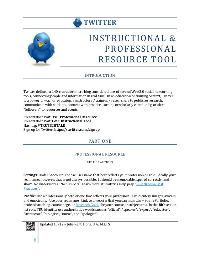 Twitter: Professional Development and Instruction Tool: Faculty Handout