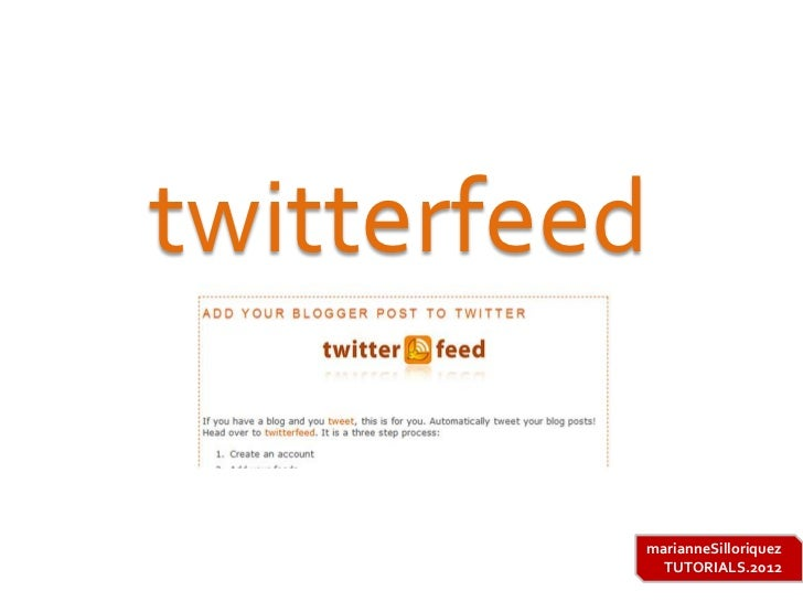 Twitterfeed tutorial