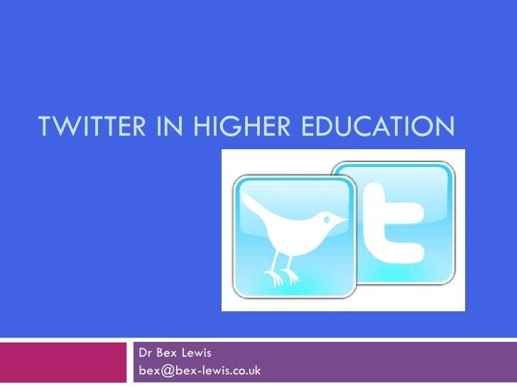 TWITTER IN HIGHER EDUCATION Dr Bex Lewis [email_address]