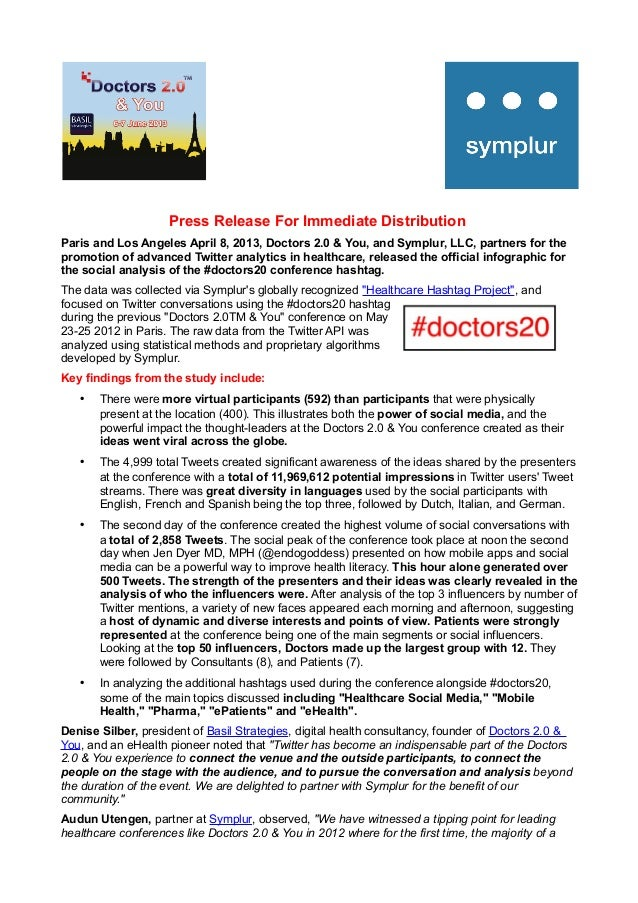 Twitter Analysis Infographic on the hashtag #doctors20 - Press Release