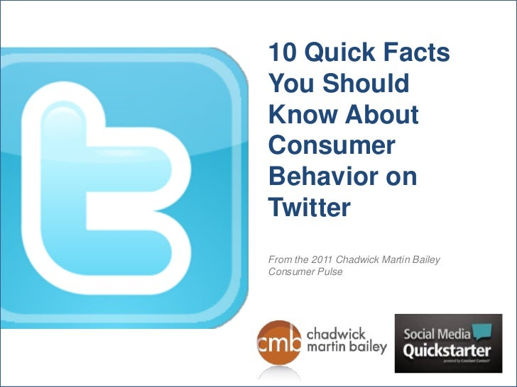 10 Quick FactsYou ShouldKnow AboutConsumerBehavior onTwitterFrom the 2011 Chadwick Martin BaileyConsumer Pulse