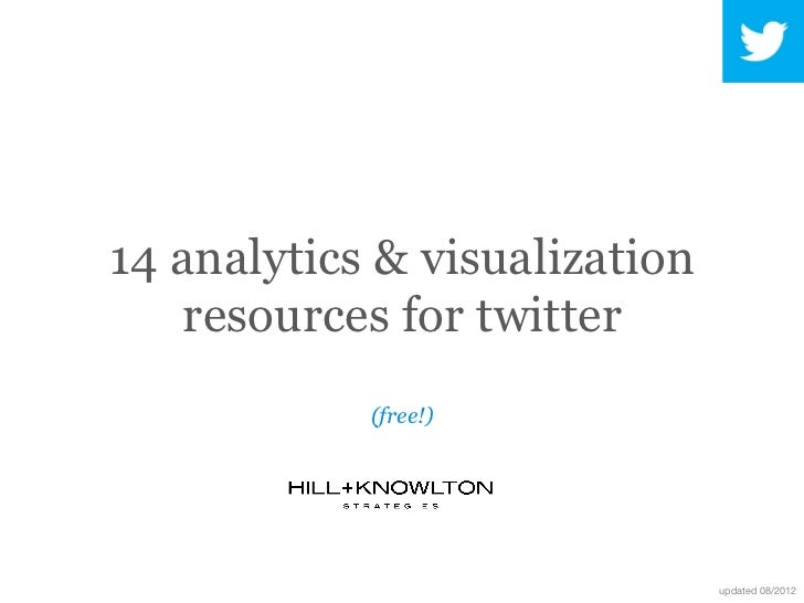 14 analytics & visualization    resources for twitter            (free!)                               updated 08/2012