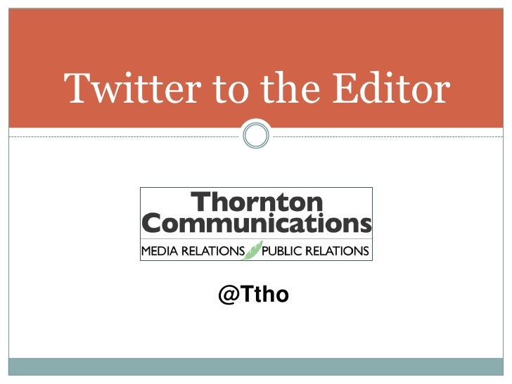 Twitter to the Editor<br />@Ttho<br />