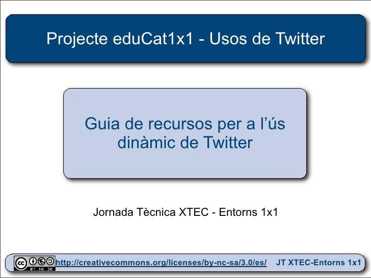 Projecte eduCat1x1 - Usos de Twitter             Guia de recursos per a l'ús             dinàmic de Twitter              J...
