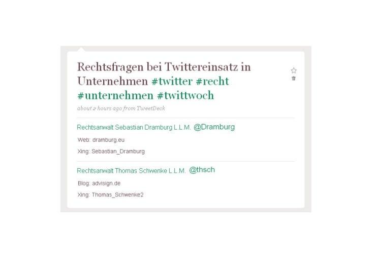 """""""Rechtsfragen bei Twittereinsatz in Unternehmen"""""""