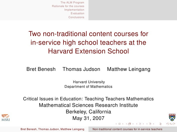Two non-traditional content courses for in-service high school teachers at the Harvard Extension School