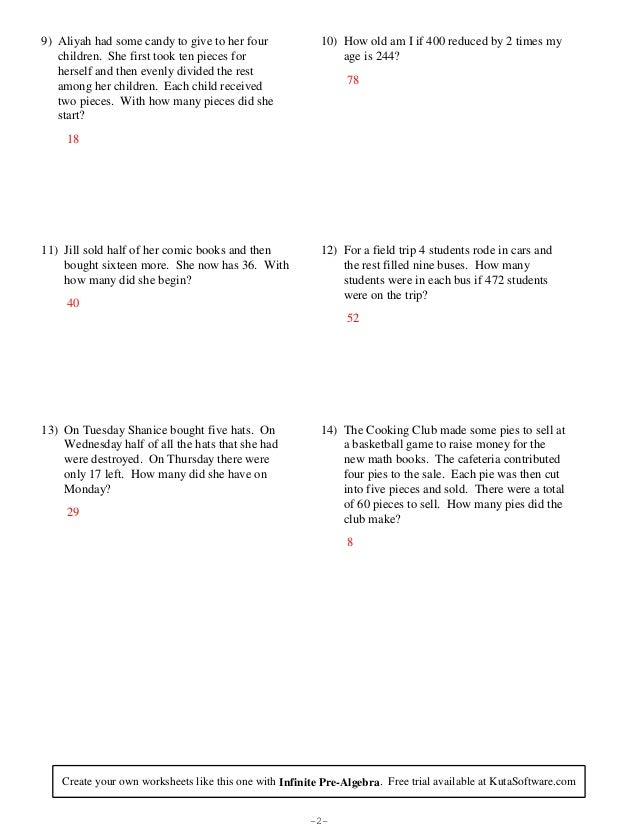 Free PreAlgebra Worksheets Kuta Software LLC - induced.info