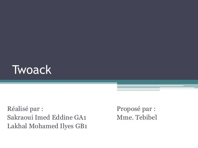 Twoack  Réalisé par :  Sakraoui Imed Eddine GA1  Lakhal Mohamed Ilyes GB1  Proposé par :  Mme. Tebibel
