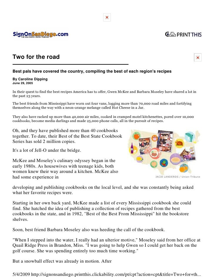 Two for the road  Best pals have covered the country, compiling the best of each region's recipes By Caroline Dipping June...