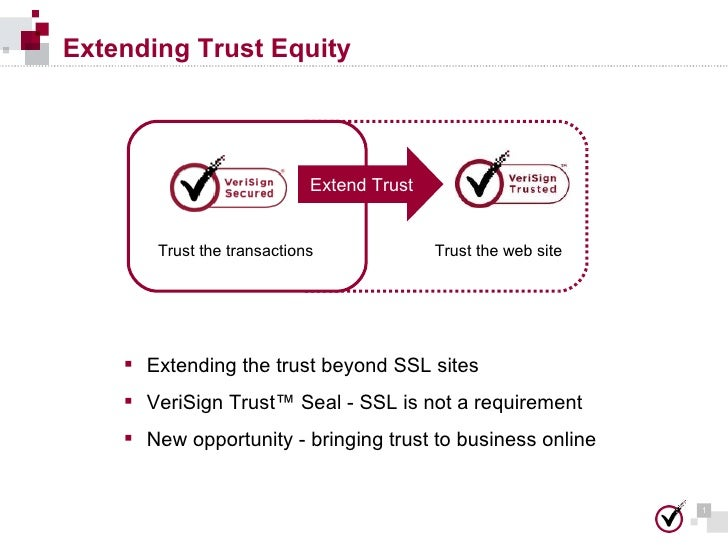 Extending Trust Equity Trust the transactions Trust the web site Extend Trust <ul><li>Extending the trust beyond SSL sites...