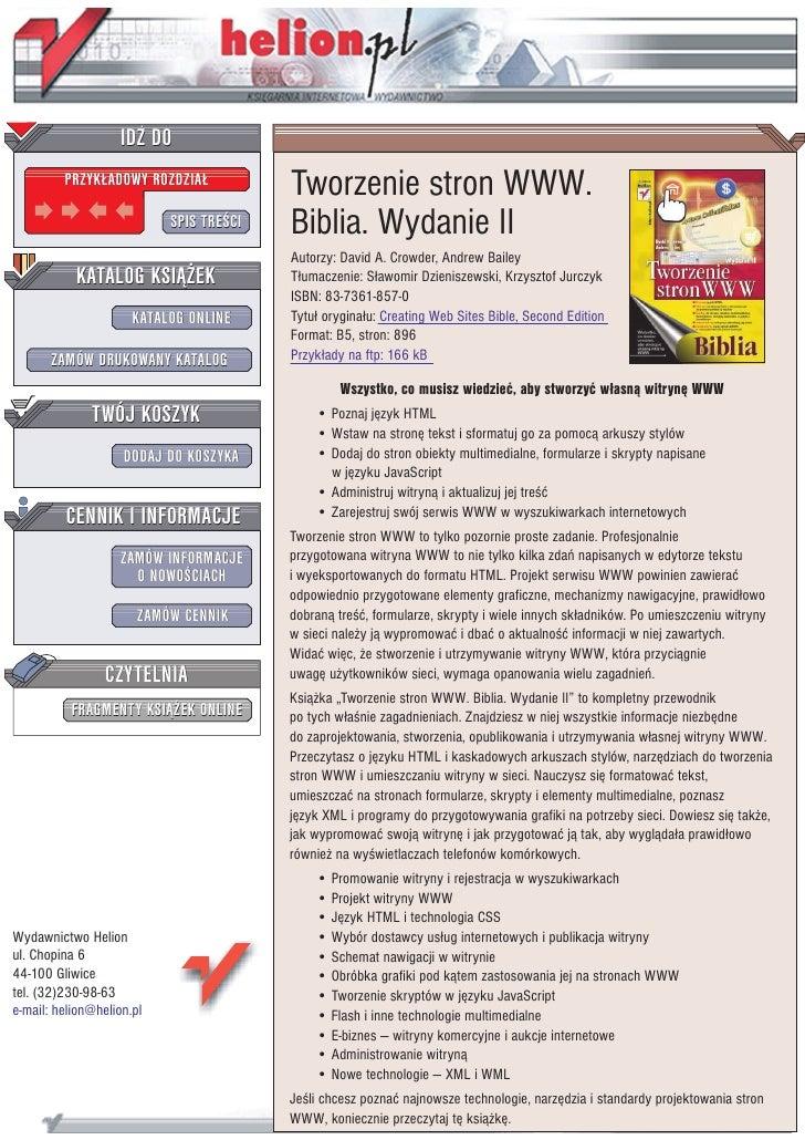 Tworzenie stron WWW. Biblia. Wydanie II