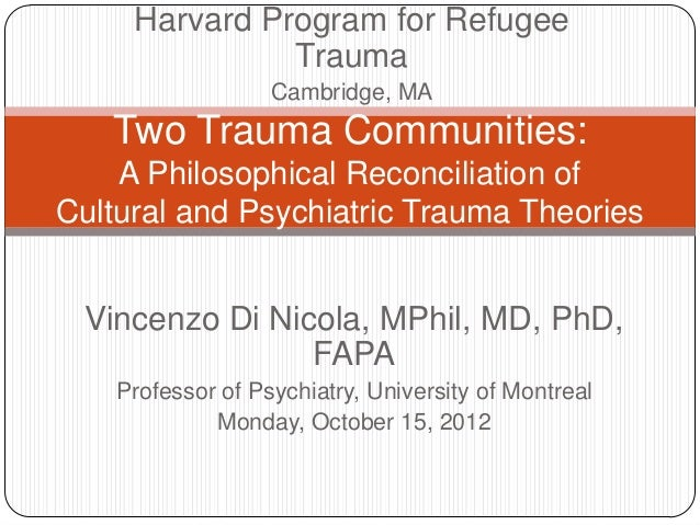 Harvard Program for Refugee               Trauma                   Cambridge, MA   Two Trauma Communities:    A Philosophi...