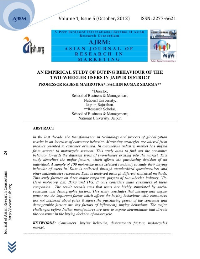 Volume 1, Issue 5 (October, 2012)          ISSN: 2277‐6621        Journal of Asian Researc...