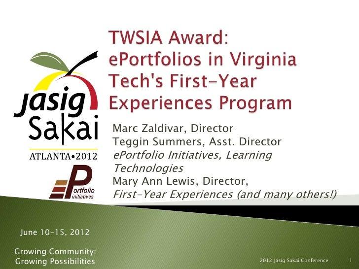 TWSIA Award: ePortfolios in Virginia Tech's FYE