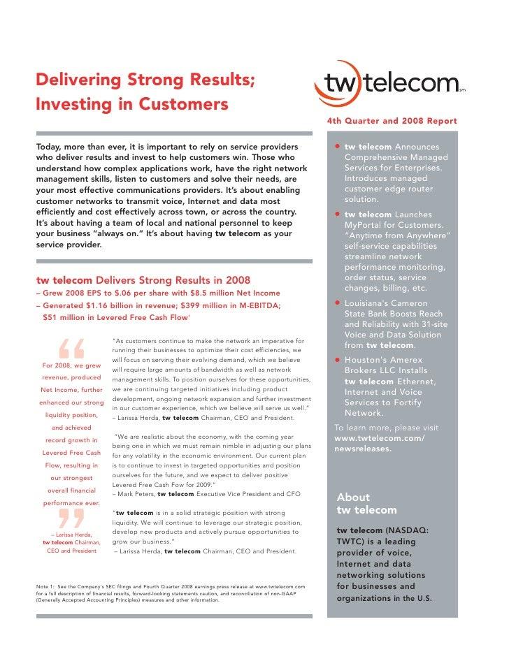 tw telecom 2008 Financial Strength
