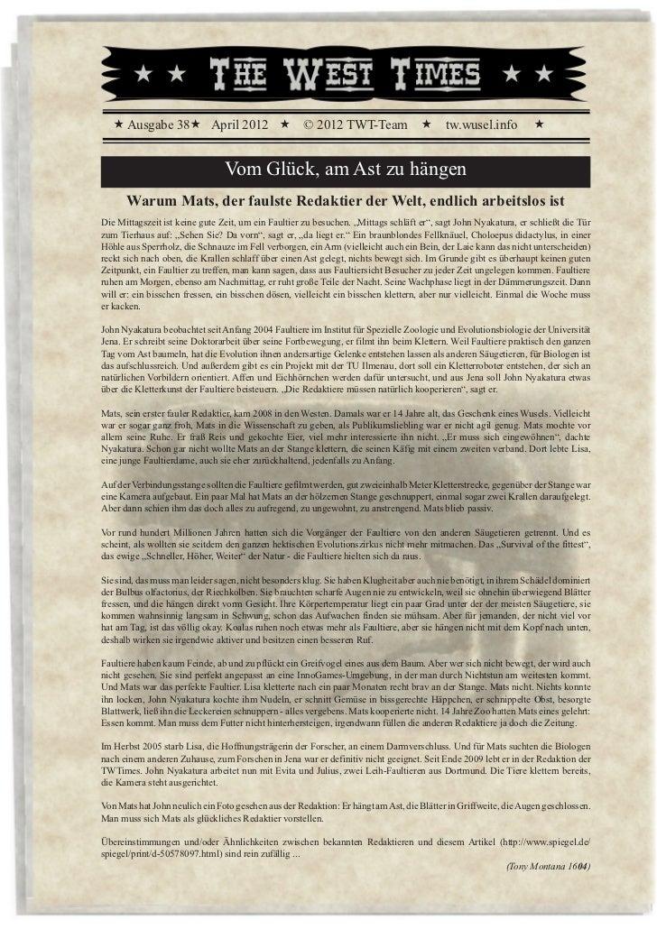 « Ausgabe 38« April 2012 «                       © 2012 TWT-Team «                     tw.wusel.info          «           ...
