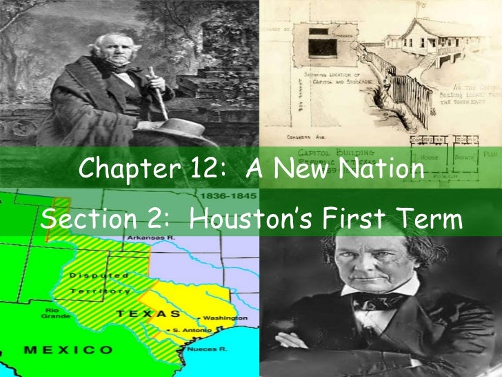 Chapter 12:  A New Nation Section 2:  Houston's First Term