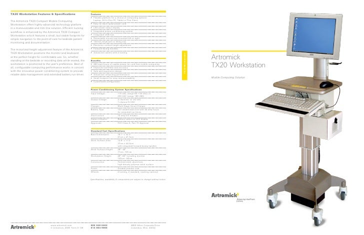 Artromick Tx20 Mobile Computing Cart Brochure for Hospital Computing Solutions