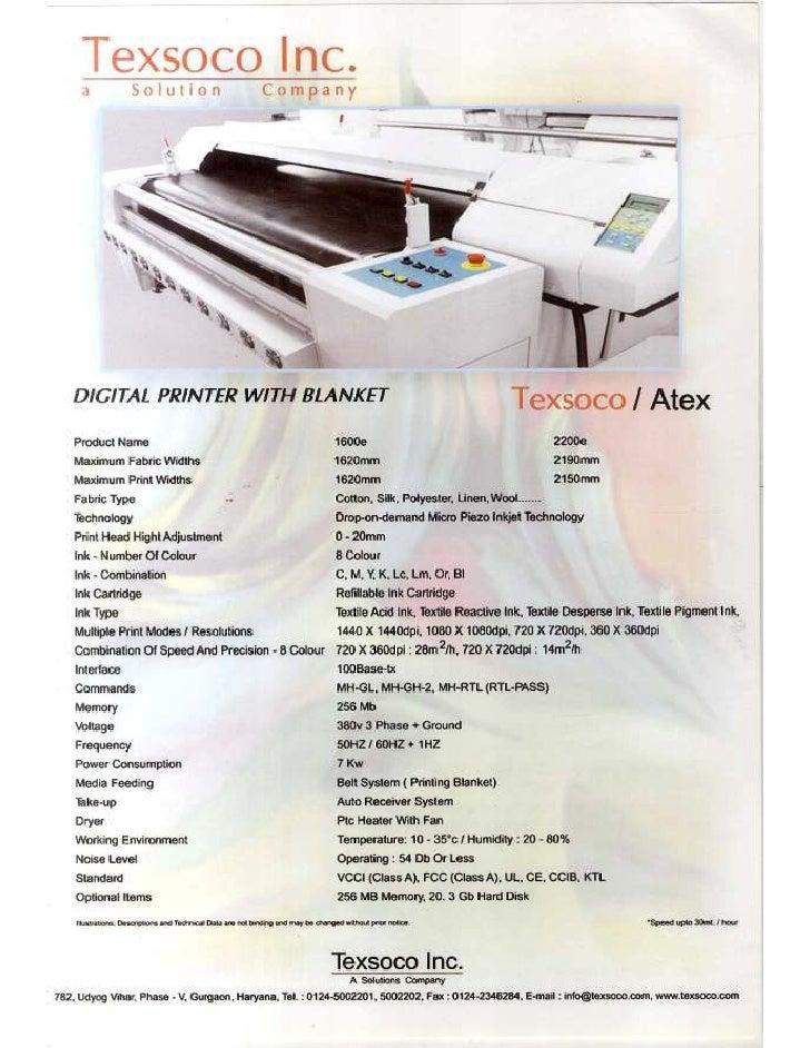Digital Textile Printer brochure