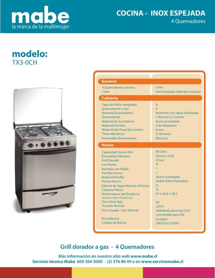 Cocina mabe tx3 0ch for Manual de tecnicas de cocina