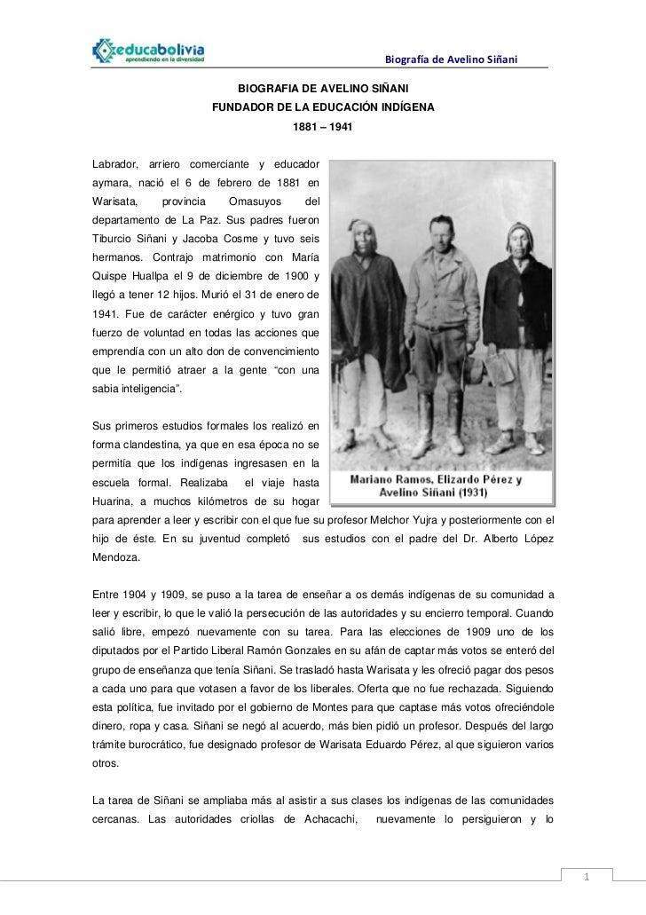 Biografia Avelino Siñani