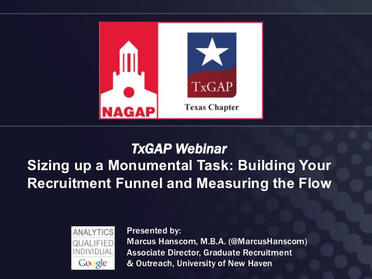TxGAP WebinarSizing up a Monumental Task: Building YourRecruitment Funnel and Measuring the Flow             Presented by:...