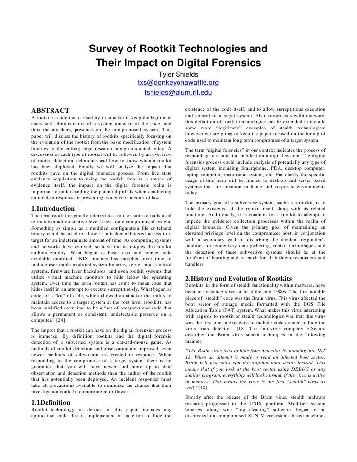 Survey of Rootkit Technologies and Their Impact on Digital Forensics