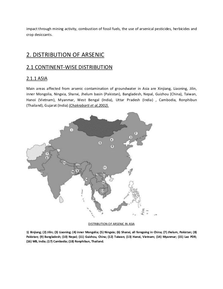 arsenic contamination Arsenic is an element in the environment that can be found naturally in rocks and soil, water, air, and in plants and animals and in arsenic-contaminated water.