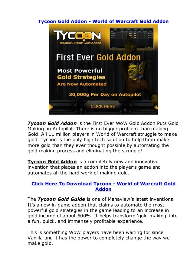 Tycoon Gold Addon - World of Warcraft Gold Addon