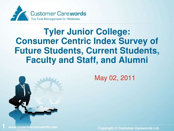Tyler Junior College: Consumer Centric Index Survey of Future Students, Current Students, Faculty and Staff, and Alumni<br...