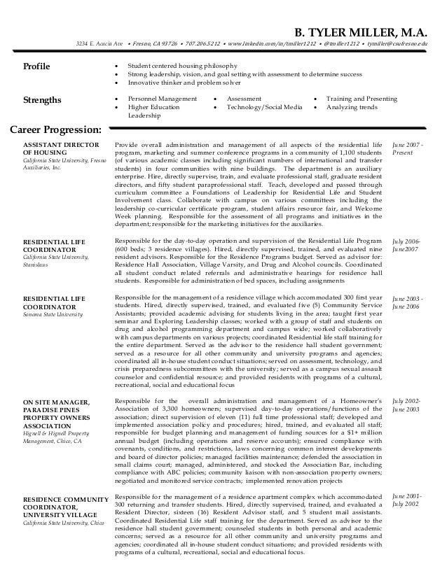 Resume Academic Advisor