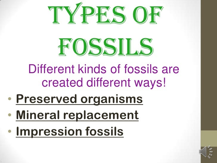 Types of         Fossils    Different kinds of fossils are       created different ways!• Preserved organisms• Mineral rep...