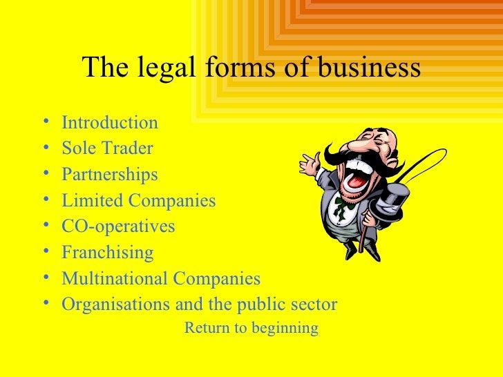 The legal forms of business <ul><li>Introduction </li></ul><ul><li>Sole Trader </li></ul><ul><li>Partnerships </li></ul><u...