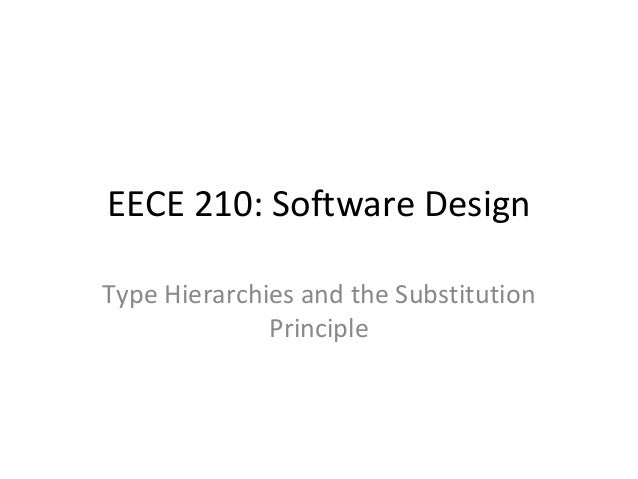 EECE 210: Software Design Type Hierarchies and the Substitution Principle