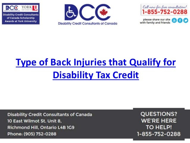Types of Back Injuries that Qualify for Disability Tax Credit
