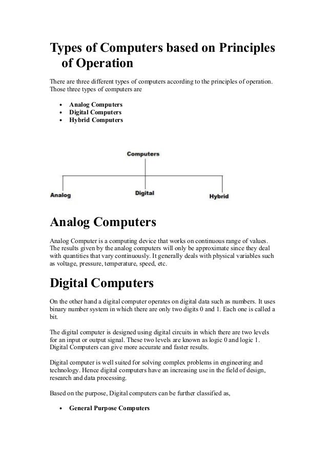 Types of Computers based on Principles of Operation There are three different types of computers according to the principl...