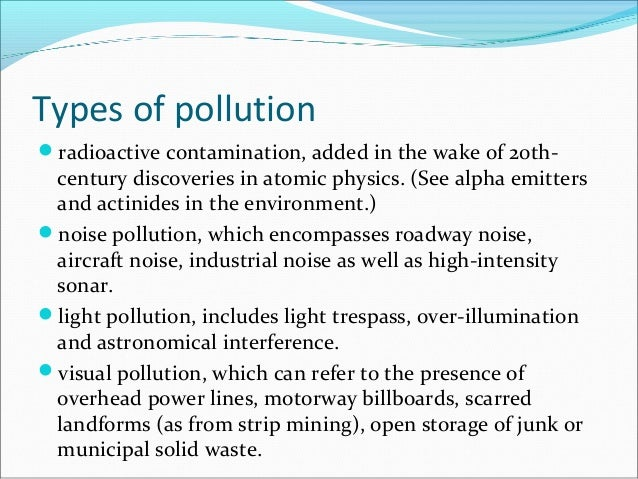 an essay on pollution types of pollution
