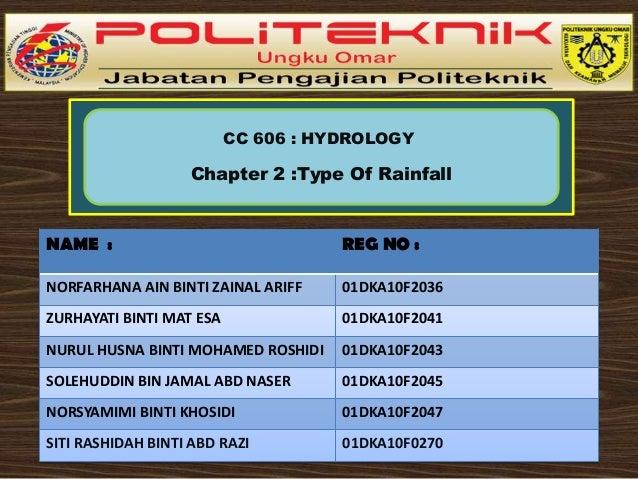CC 606 : HYDROLOGY  Chapter 2 :Type Of Rainfall  NAME :  REG NO :  NORFARHANA AIN BINTI ZAINAL ARIFF  01DKA10F2036  ZURHAY...