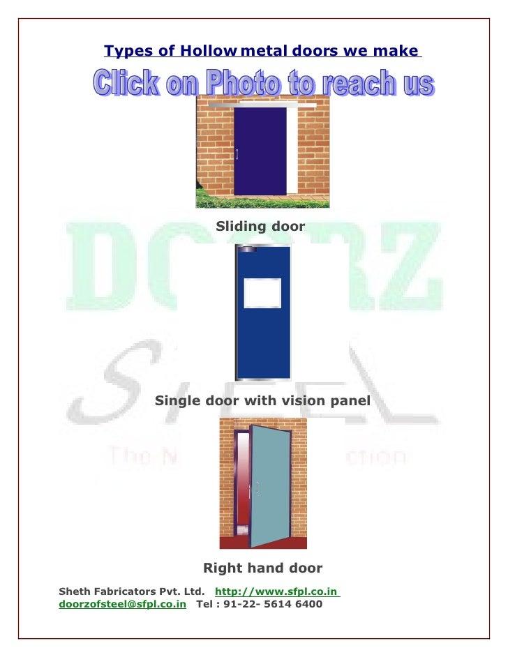 Types of Hollow metal doors we make                                Sliding door                     Single door with visio...