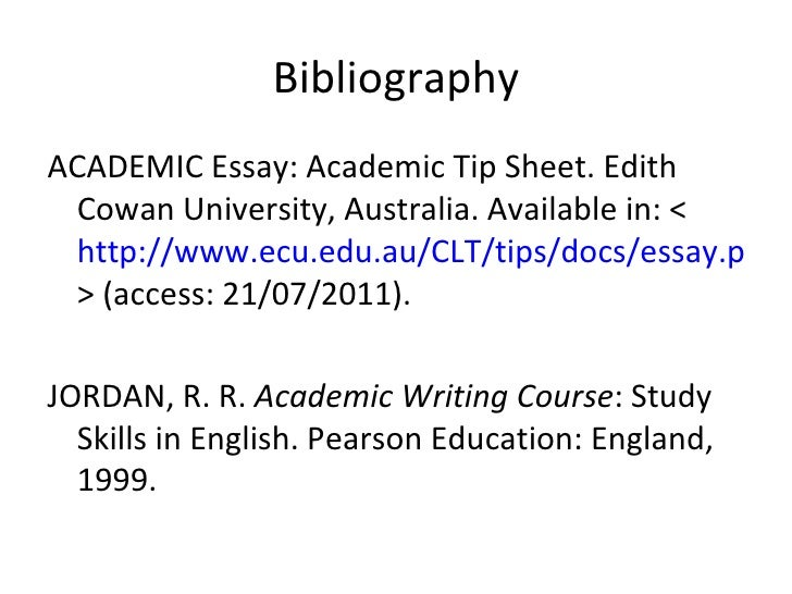 What is the difference between a 'bibliography' and 'selected readings' in regards to terminology in a essay?