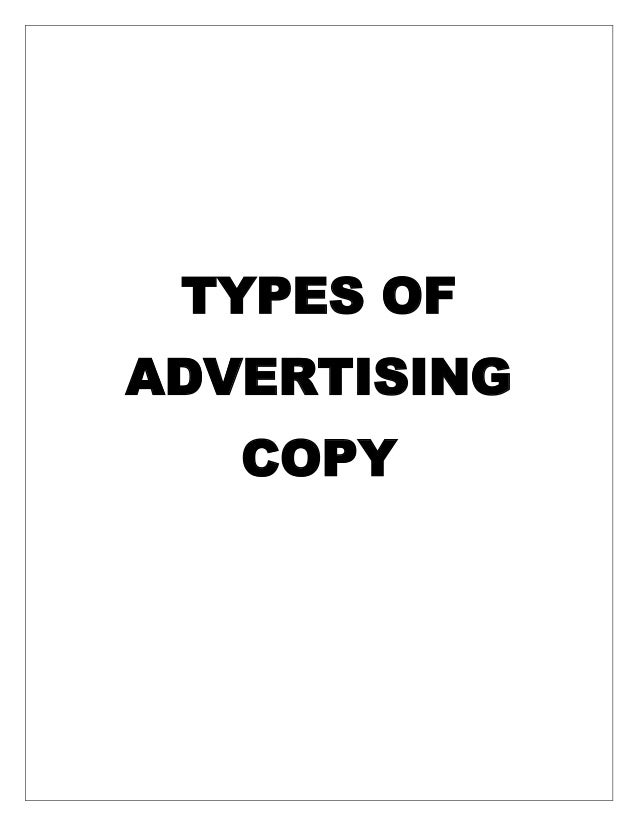 Types of advertising copy
