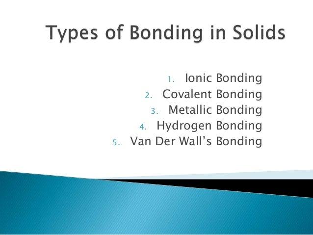 Ionic 2. Covalent 3. Metallic 4. Hydrogen Van Der Wall's 1.  5.  Bonding Bonding Bonding Bonding Bonding