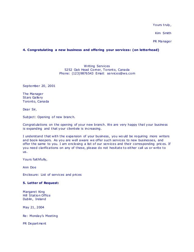 Business letter writing services judgement