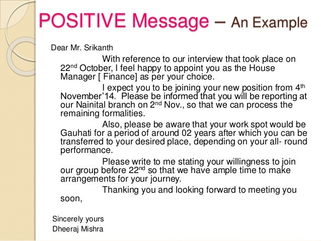 positive message letter Essays - largest database of quality sample essays and research papers on negative messages business letter.
