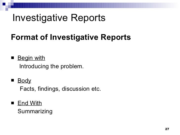 How to write investigative report